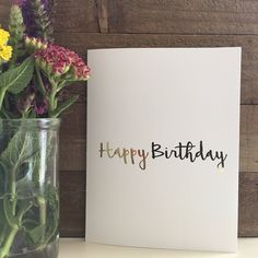 Happy Birthday Card Set / Gold Foil Card Set / Blank Greeting Cards by PaisleyAndJuneCardCo on Etsy