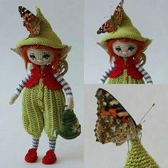 Crochet Doll Hat Elves Ideas For 2019 Amigurumi Doll, Amigurumi Patterns, Doll Patterns, Crochet Fairy, Cute Crochet, Boy Crochet, Crochet Headband Pattern, Crochet Doll Pattern, Knitted Dolls