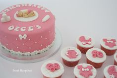 Babyshower Cake with Matching Cupcakes