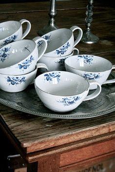 blue & white tea cups...