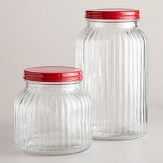 Small Ribbed Jar with Red Lid | World Market