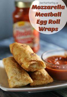 Mozzarella Meatball Egg Roll Wraps AD #Ragutailgating