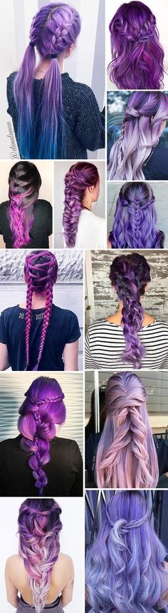 Purple hair is now a huge trend among chic fashionistas and celebrities. Kesha and Katy Perry rock this hair color. If you are a frequent user of Tumblr, you must have seen all those gorgeous photos with purple locks and braids. Moreover, there are some amazing shades of purple like lavender or lilac. If you are not purple haired yet, these photos will make you rush to your hair stylist immediately and transform your look.#haircolor#purplehair#braids