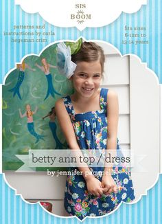 Betty Ann Top/Dress by Sis Boom PDF Sewing Pattern - Allegro DigiPatterns