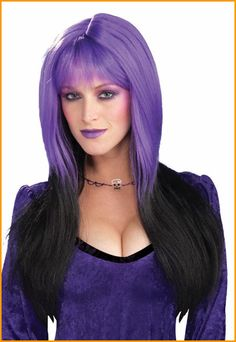 Halloween Wig Purple and Black Sexy Lady Black and Purple Wig Purple Wig 6b4e30810