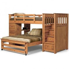 Twin Over Full Stairway Bunk with 4 Drawer End in Honey Finish