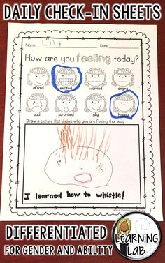 Daily check in sheet.  Help students explore their feelings.  Special Education.