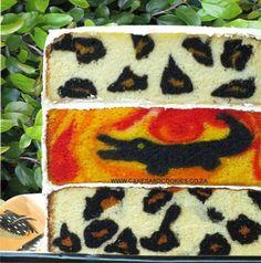 Leopard print inside Cake