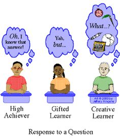 High Achiever, Gifted Learner, Creative Thinker...interesting article! Bertie Kingore