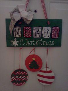 Christmas Door Hanger by MyFairLadyArt on Etsy, $30.00