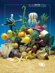 """Under the Sea Foodscapes® Poster  18"""" x 24"""" Laminated     Fun and creative food art posters with educational messaging.     Message: You can swim in flavor. Dive into colorful, flavorful fruits and vegetables.     Foodscapes® are whimsical, edible characters in landscapes, seascapes, and natural scenes designed to inspire people of all ages to eat fruits and vegetables."""