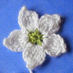 My free patterns - crochet flower applique Crochet Puff Flower, Knitted Flowers, Crochet Flower Patterns, Fabric Flowers, Pattern Flower, Flower Applique, Appliques Au Crochet, Crochet Motif, Crochet Yarn