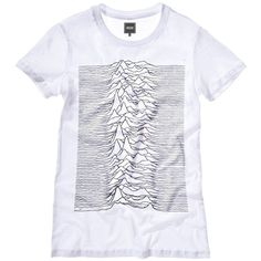 Womens uknown pleasures t-shirt - Joy Division, Ian Curtis, 80's,... (74 BRL) ❤ liked on Polyvore featuring tops, t-shirts, graphic design t shirts, print top, graphic design tees, cotton jersey and 80s tops