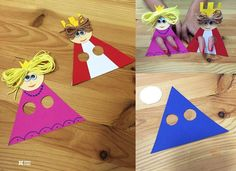 Paper Craft Idea for Kids - Art Activities For Toddlers, Craft Kits For Kids, Easy Crafts For Kids, Diy For Kids, Bible Crafts, Paper Crafts, Kids Bob, Diy Paso A Paso, King Craft