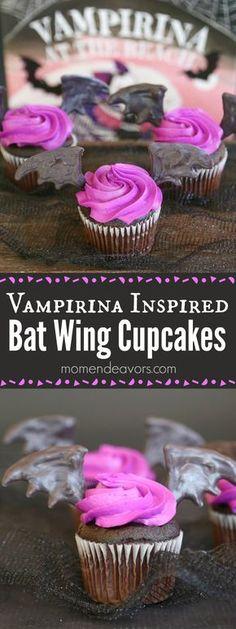 Easy Vampirina Bat Wing Cupcakes - perfect for a Disney Junior Vampirina party, a Vampirina Ballerina party, or even just for a fun Halloween treat!