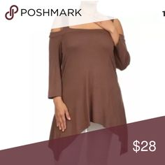 Plus Cold Shoulder Asymmetrical Mocha Tunic Top A MUST HAVE WITH IT'S FLIRTY FLATTERING SEXY STYLE!!  This top is sure to become one of your favorites! Flattering style with a flowly asymmetrical cut hemline. Sexy style with open cut cold shoulders for a sexy peek of skin. Soft comfortable soft rayon spandex blend material. Square neckline. Long sleeves that are just slightly cropped.   Made of: 94% Rayon & 6% Spandex Tops Tunics