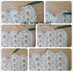 Ripple stitch + broomstick lace (sort of), very nice for shawls, etc. Crochet Symbols, Crochet Motifs, Crochet Doilies, Crochet Lace, Easy Knitting Patterns, Crochet Stitches Patterns, Broomstick Lace, Crochet Projects, Crochet Earrings
