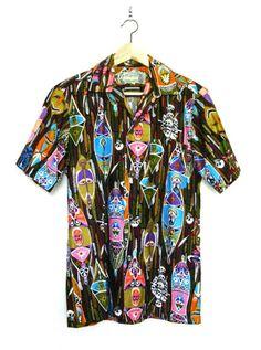 12b8ab5c2 vintage Disney tiki shirt Tiki Art, Tiki Room, Aloha Shirt, Vintage Disney,