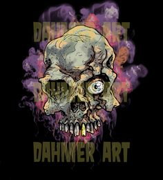 Dahmer Art, Illustrations, Lowbrow Art, Skulls, Horror, Pop Culture, Art, Smoke, Crazy, Colors, Colorful.