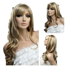 GOOACTION Golden High Light Oblique Bangs Wavy Long Wig for Ladies And Women  Wig Shop Lace 1ccb96fc3b