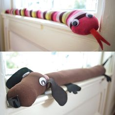 Critters That Keep Out the Cold - draft stoppers for doors and windows, very easy! Jakin- no sew n great for winter craft!