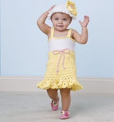 Summer Baby Dress and Hat Free Crochet Pattern and Video Tutorial on Craftdrawer Crafts at http://www.craftdrawer.com/2012/06/free-crochet-summer-baby-dress-and-hat.html