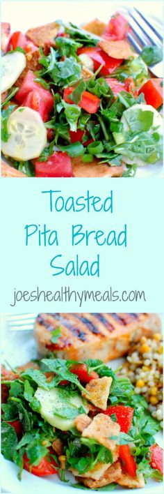 Toasted pita bread salad. Nice and crunchy makes this recipe really good! | www.joeshealthymeals.com