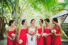 Tulum wedding / coral bridesmaid dress / beach photographs / tulum Mexico destination wedding / Ariel Renae | Destination Wedding Photographer / elegant / classic / timeless / romantic