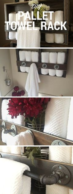 How to make #DIY Pallet Towel Rack for rustic bathroom decor. Worth a try! #homedecorideas