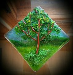 """Baby Oak"" Fused Glass Frit Ornament by Diane Quarles @ Aspen Light Glass Studio"