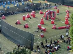 How awesome does this paintball field look? Plan your next birthday party and make the theme paintball. Come by Swimming Pools of Tupelo and get your guns reloaded. Paintball Party, Paintball Field, Paintball Gear, Airsoft Field, Nerf, Archery Tag, Good Ole, Outdoor Fun, Outdoor Activities
