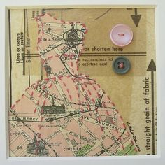 Paper Doll - mixed media collage; dress pattern, map (Paris) buttons, embroidery - by Kathrine Allen-Coleman, Dress Paintings. (sold) Lovely.