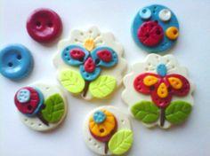 Button Cute Flowers handmade polymer clay button set ( 7 )