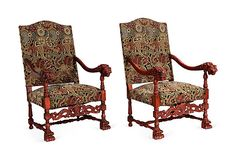 Tapestry Chairs, Pair