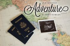 A classy pregnancy announcement for the travel-loving couple.
