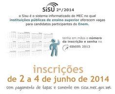 Tire suas dúvidas - Sisu 2º/2014  Pode fazer a inscrição no Sistema de Seleção Unificada (Sisu) 2º/2014, o estudante que participou do Exame Nacional do Ensino Médio (Enem) de 2013 e obteve nota acima de zero na redação... Confira: http://enem.vc/tire-suas-duvidas-sisu-2o2014/  #sisu #sisu2014 #inscricoessisu