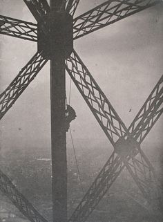 Henri Rivière, The Eiffel Tower: Painter on a knotted rope along a vertical girder, below an intersection of girders, 1889. Gelatin silver print, 4 3/4 x 3 1/2 in. Musée d'Orsay, Paris. Gift of Mme Bernard Granet and her children and Mlle Solange Granet, 1981. © 2012 Artists Rights Society (ARS), New York / ADAGP, Paris.