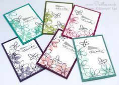 Garden In Bloom, Cottage Greetings, Washi Tape punch, Silver Glimmer Paper, Rhinestones - July Thank You Cards All Colours