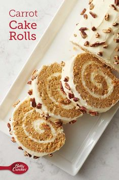 Carrot Cake Rolls - Need an extra-special dessert for your spring party? These Carrot Cake Rolls are a stunning addition to any dessert table. Made easy with Betty Crocke. Just Desserts, Delicious Desserts, Yummy Food, Cake Roll Recipes, Dessert Recipes, Cake Mix Jelly Roll Recipe, Carrot Cake Roll Recipe, Cake Chocolat, Salty Cake