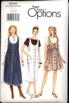Vogue 9440 Loose Fitting High Waist Jumper Front Button New Old Store Stock Size 8 10 12 Vintage Sewing Patterns, Clothing Patterns, Dress Patterns, Vogue Sewing Patterns, Vintage Dresses, Vintage Outfits, Vintage Fashion, 20th Century Fashion, Moda Vintage