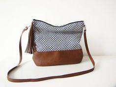 Geometric Boho bag, Crossbody bag, Geometric flowers, Canvas and Leather…