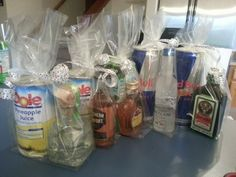 Adult party favors. Liquor and chasers. Guests will love them!