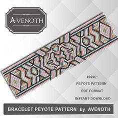 Peyote bracelet pattern, peyote pattern, stitch pattern, pdf file, pdf pattern…