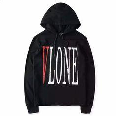 Vlone Hoodie Sweatshirt Black White : DealExtreme