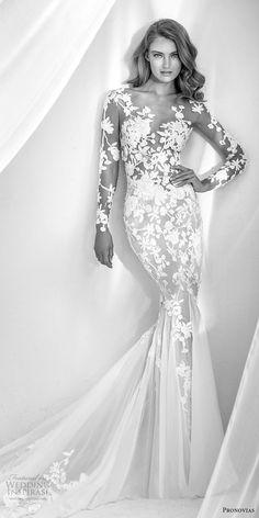 atelier pronovias 2018 bridal long sleeves sweetheart neckline full embellishment elegant mermaid wedding dress sheer button back chapel train (5) mv