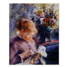 Renoir's Young Woman Sewing Pierre Auguste Renoir, Edouard Manet, August Renoir, Renoir Paintings, Oil Paintings, Art Gallery, Impressionist Artists, Paul Cezanne, Oil Painting Reproductions