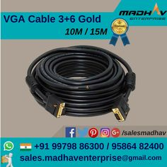 #VGA cable 3+6 Gold available in 10M & 15M at #MadhavEnterprise #Surat #South #Gujarat #India  #Wholesale #Supplier