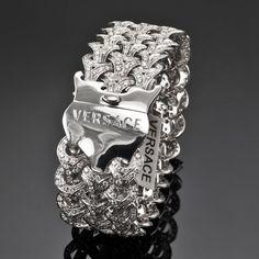 RARE!!! VERSACE ATELIER WOVEN BRACELET - 18K WHITE GOLD 10.75 CT.  PAVE DIAMOND #VERSACE #Braided