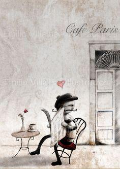 Art illustration imprimer homme parisien au café paris noir et blanc 5,8 x 8,3 po A5.