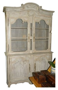 Antique 18C French Country China Hutch Bookcase